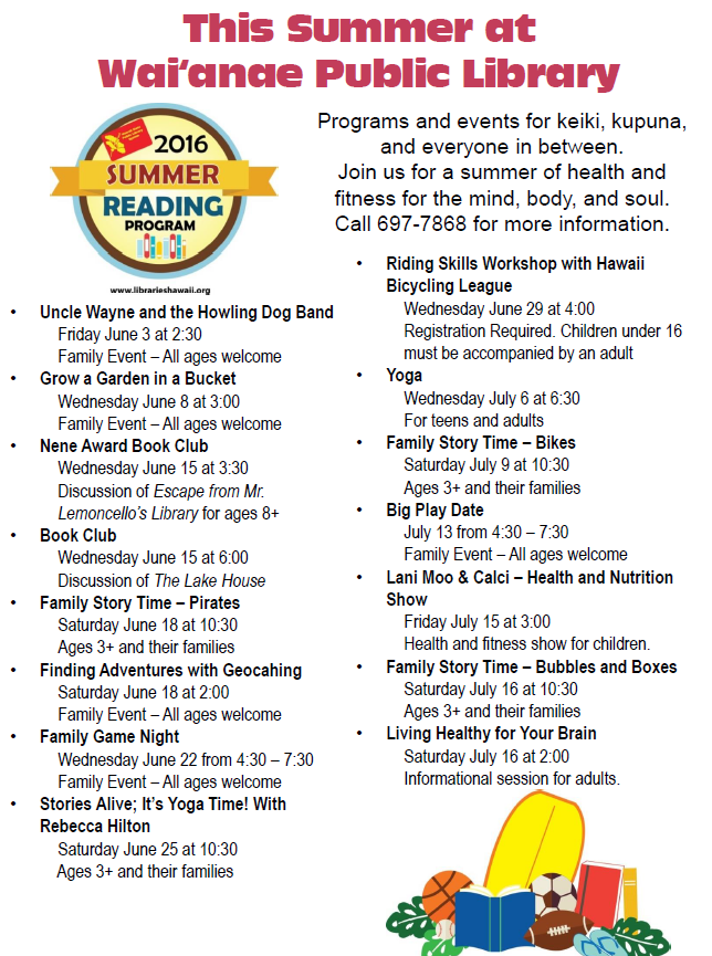 Waianae Public Library Summer Events updated