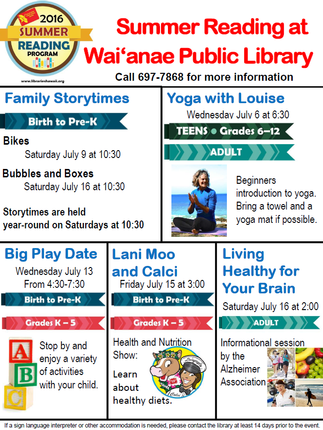Waianae Public Library July Events